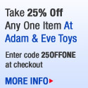 Take 25% Off Any One Item at Adam and Eve Toys Cod