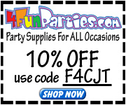 4FunParties.com (ongoing) 20% off all orders – Use promo code F2H2J