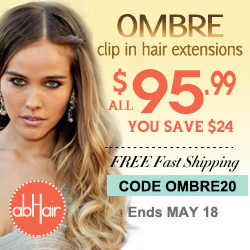 OMBRE clip in hair extensions $95.99. 20% off. Code OMBRE20.