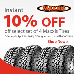 Buy a set of 4 Maxxis Bighorn Tires and get an INSTANT 10% OFF. Savings of up to $314.00