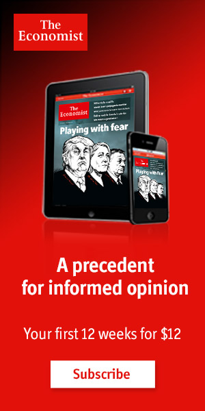Subscribe to The Economist for only $12 for the first 12 weeks. Save up to 86%!
