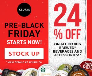 Pre-Black Friday. SAVE 24% on all Keurig Brewed beverages and accessories!