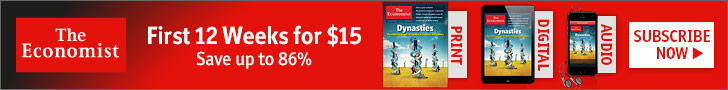 Subscribe to The Economist for only $15 for the first 12 weeks. Save up to 86%!