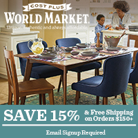 OMNI EVERGREEN: Sign up for World Market emails and receive 15% off + free shipping on orders $150+
