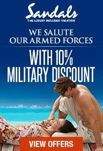 Military Servicemen Savings At Sandals Resorts