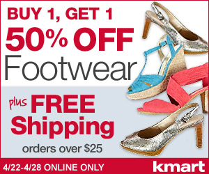 Kmart - Online Only! Buy 1, Get 1 50% off Footwear plus FREE Shipping on Footwear orders over $25