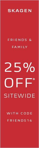 Skagen Friends & Family 25% off with code: FRIENDS16