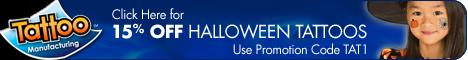 15% Off Halloween Temporary Tattoos