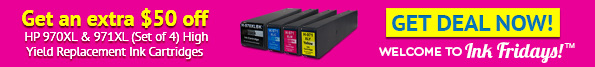 Get an extra $50 off HP 970XL & 971XL (Set of 4) High Yield Replacement Ink Cartridges - Ink Fridays