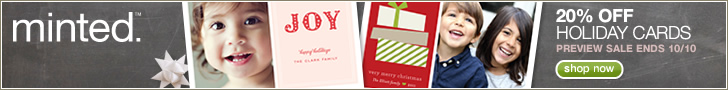 20% off Minted holiday cards with code HOLIDAY20