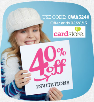 Get The Party Started! 40% off Invitations at Cardstore! Use Code: CWA3240, Valid thru 11:59pm PST 2