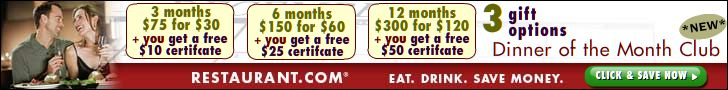 JOIN! Dinner of the Month Club at Restaurant.com