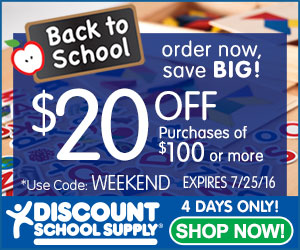 BACK TO SCHOOL SALE - Save $20 Off ANY Purchase of $100 Or More At Discount School Supply!