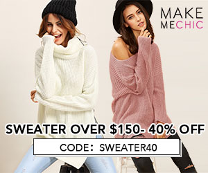 Sweater Sale! Save 40% on Sweater purchases over $150 with couponcode SWEATER40 at MakeMeChic.com.