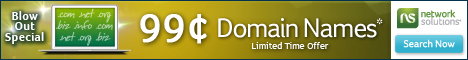 Limited Time Only 99 Cent Domains from Network Solutions