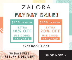 ZALORA HK: Payday Sale – Up to 20% off! (Sep 29 to Oct 2)
