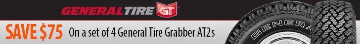 Purchase a select set 4 of General Grabber tires and receive a $75 INSTANT rebate