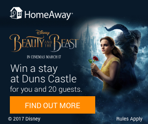 The grand prize winner will receive a 5 nights' stay at Duns Castle in Scotland, roundtrip travel, and meals and entertainment. Did we mention the winner can bring 20 GUESTS?! This sweepstakes is too good to pass up.