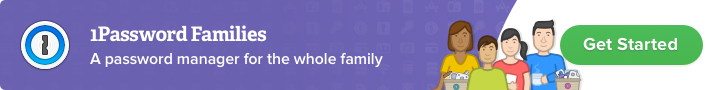 1Password for Families banner