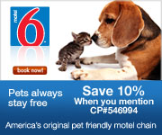 Pets always stay free at Motel6. Use CP546994