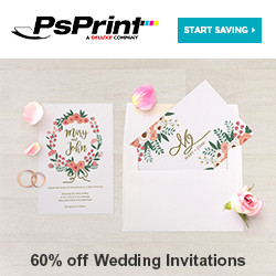 Save up to 60% off Invitations from PsPrint!