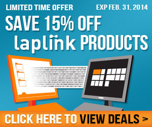 Save 15% off Laplink products! Ends 3/31/14
