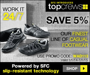 Get 5% off slip resistant footwear from Shoes For Crews. Enter Key Code: WAD113. Click Here!