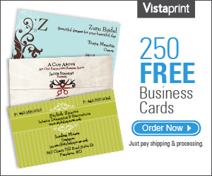 250 Free Business Cards from Vistaprint, Plus Get Free 14 Day Shipping on orders over $50!