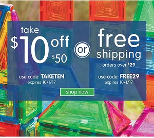 Take $10 Off A $50 Order Using Code: TAKETEN OR Get Free Shipping On Orders Over $29 Using Code: FRE