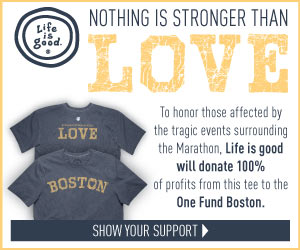 Help Honor The People of Boston with a Great Tee From Lifeisgood.com. All Profits Donated to The One