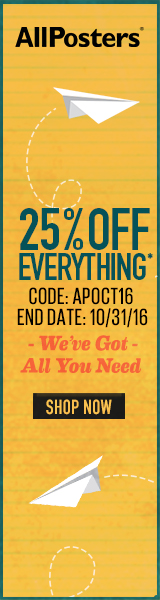 Save 25% on all orders of fine art, prints, decor and more at AllPosters.com! Code: SEPT916 (Ends 9/