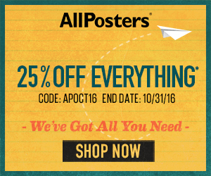 Save 25% on all orders of posters, art, photography and more at AllPosters.com! Use promo code: SUMMER25 (Valid 7/1 to 7/31, 2015)