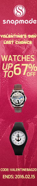 Snapmade 2016 Valentine's Day Last Chance - Watches up to 67% Off + Extra 20% Off - 120*600
