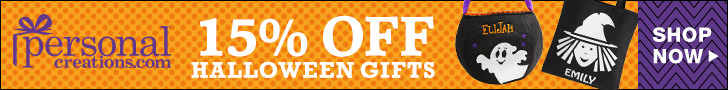 15% off Personalized Halloween Treat Bags and Decor from Personal Creations - 728x90
