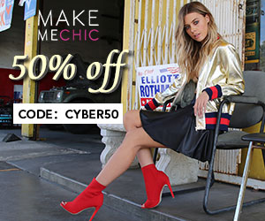 Save 50% on Clearance items through the end of the year from MakeMeChic.  Use code CYBER50
