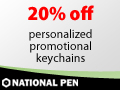 20% off personalized promotional keychains