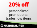20% off personalized promotional tradeshow items