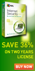 Save 36% on 2 year license AVG Internet Security