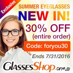 Summer New Arrivals at GlassesShop! Promo ends 7/31/2016