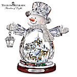 Kinkade Crystal Snowman With Glowing Village, Moving Train