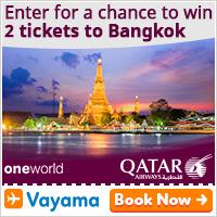 Vayama - Qatar Airways 2 tickets to Bangkok: Check in and win!