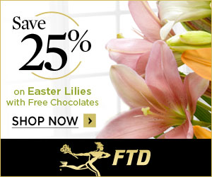 Save up to 25% on Easter Lillies and get Free Chocolates with your order! 300 x 250