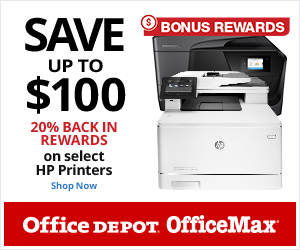 Bonus Rewards! 20% Back in Rewards on HP Printers PLUS Save up to $100!