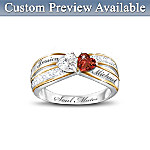 Romantic Topaz And Garnet Ring Engraved With Your Two Names