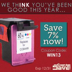 Holiday savings on ink at CompAndSave.com