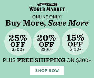 Buy More, Save More - 15% off $100+, 20% off $200+, 25% off $300+, Free Shipping $300+