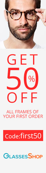 50% off All Frames of Your First Order at Glassesshop.com with coupon code: FIRST50.