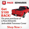 Cover your truckbed with Pace Edwards Jackrabbit Tonneau Cover and get a mail in rebate of $100.