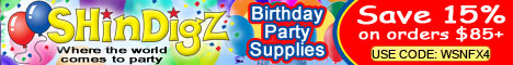 Save 15% on birthday party supply orders $85+