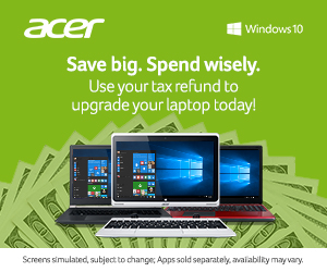 Acer tax refund sale.  Save big to upgrade your laptop today (and get free shipping!)